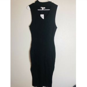 Say What Plus Solid Black Ribbed Sleeveless Dress